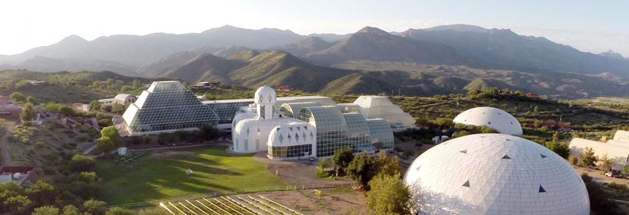 aerial overhead photo of the Biosphere 2 facility