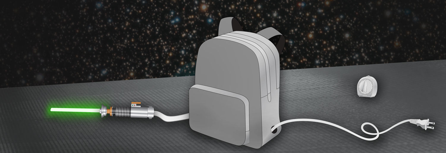 A gray backpack with two holes on the sides for a power plug and a glowing green lightsaber; timer in the background