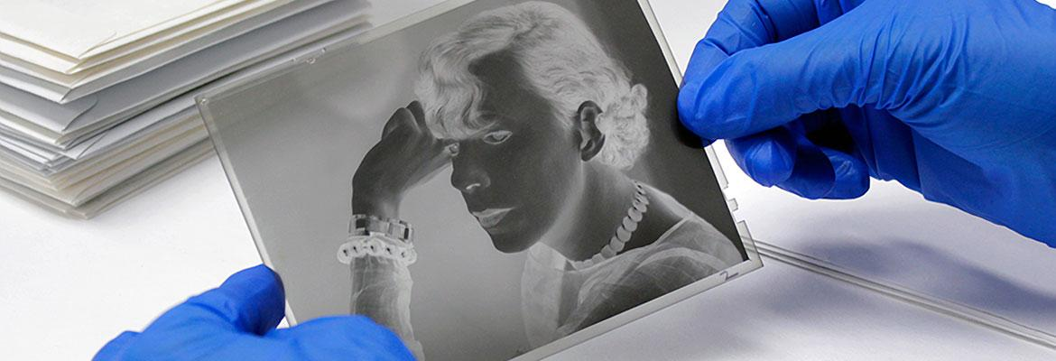 Preservation of a photo negative at the Center for Creative Photography
