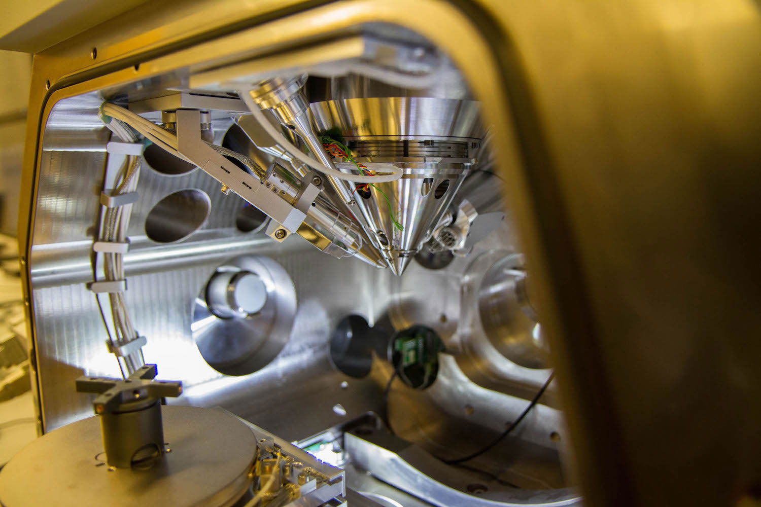 Close-up of a focused ion beam