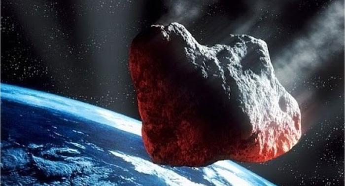 Illustration of an asteroid heading toward earth