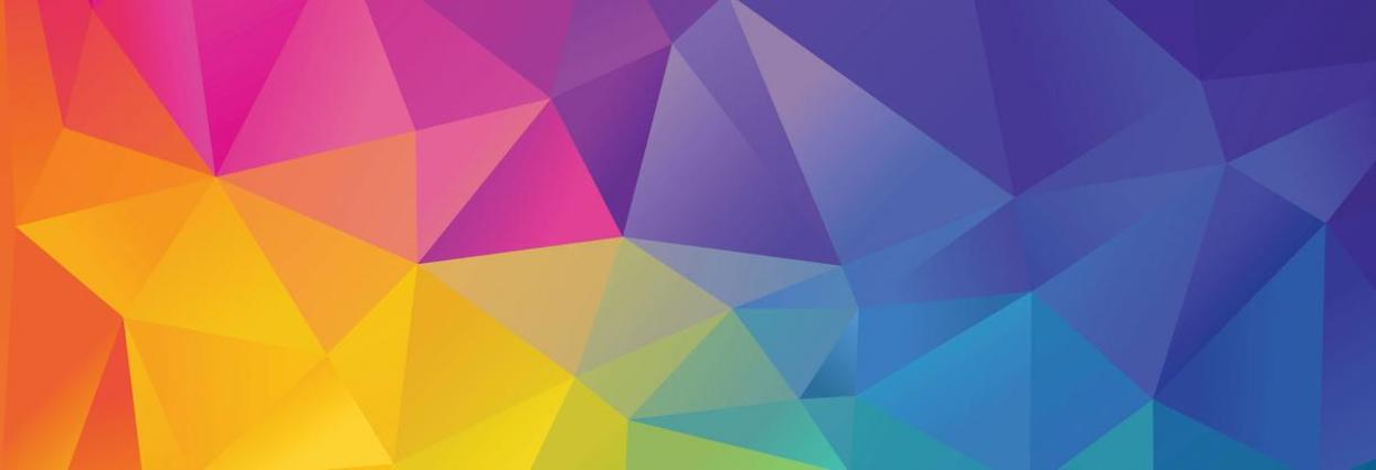 A color field made up of triangles ranging from red, orange, yellow, green, blue and purple.