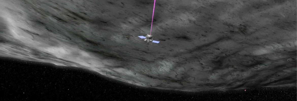 NASA Mission OSIRIS-REx, run by the University of Arizona, surveying the surface of asteroid Bennu with lasers