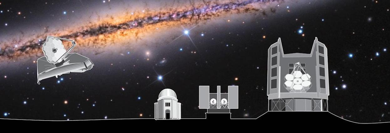 Illustration of Giant Magellon Telescope, Steward Observatory, The Large Binocular telescope and The James Webb Space Telescope on an Adam Block Space photography image of a galaxy taken at Mt. Lemmon Sky Center