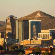 A few of the Tucson skyline with Sentinel Peak in the background.