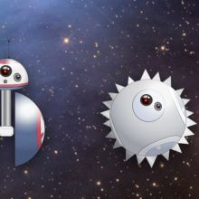 (From left to right) An illustration of BB-8 with a cut-away showing a hamster inside the body; an illustration of BB-8 with a barbell-shaped body; an illustration of a spherical BB-8 with metal spikes across the surface of its body; an illustration of a