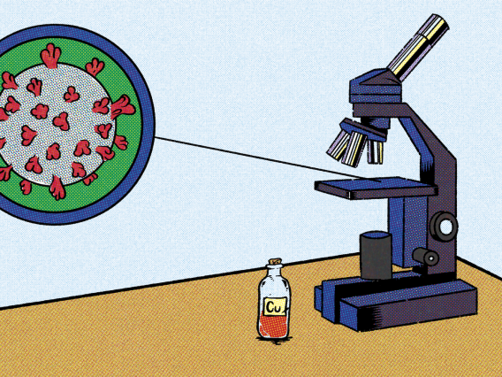 illustration of microscope and virus