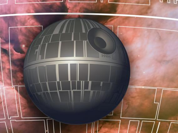 An illustration of the Death Star laid over a white tracing of architectural details on the surface of the Death Star, and a cloudy pink and purple galaxy
