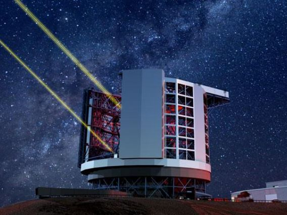 Illustration of Giant  Magellan Telescope with lasers going into night sky