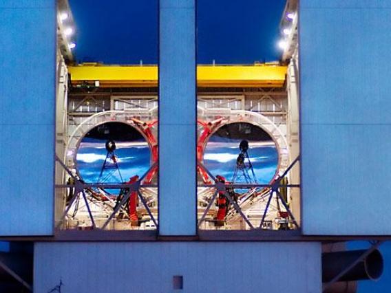 Large Binocular Telescope at night