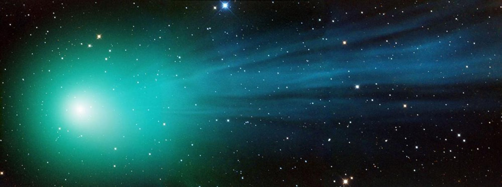 Image of Comet Lovejoy, also known as C/2014 Q2, passing through the solar system more than 50 million miles away from our own planet.