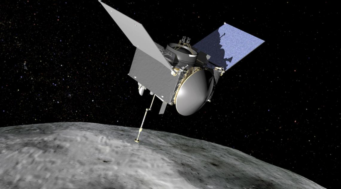 A graphic illustration of the OSIRIS-REx spacecraft touching the surface of the near-Earth, carbon-rich asteroid Bennu.