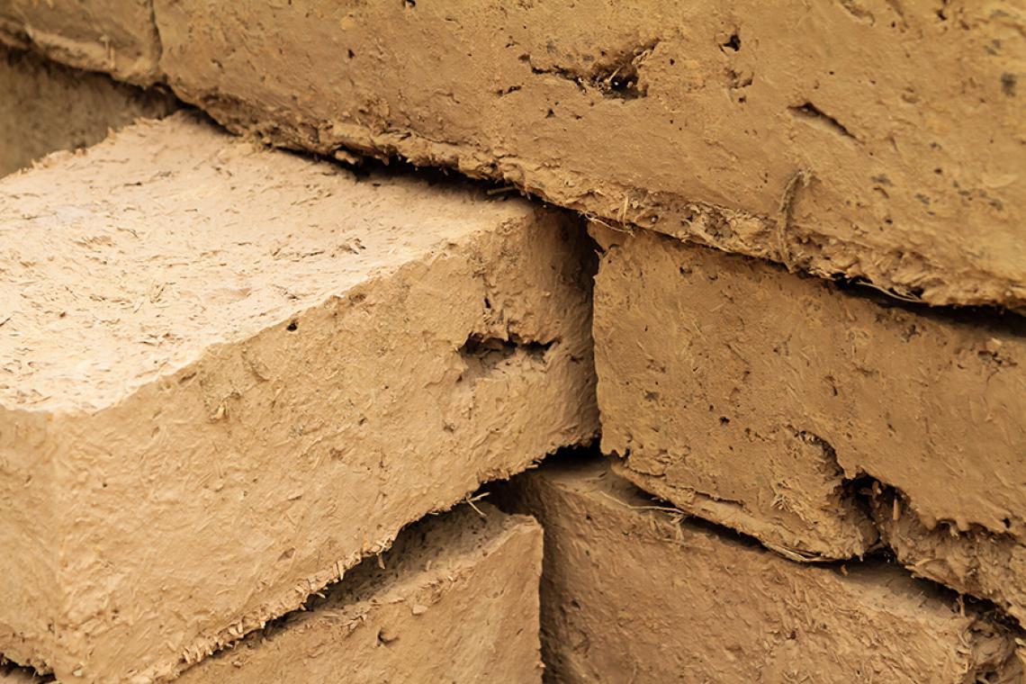 Close up photo of adobe blocks