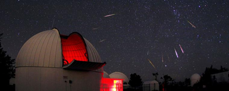Four telescope domes opened up, tracking a meteor shower.