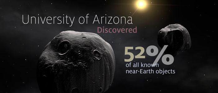 "Image of asteroids in space ""University of Arizona discovered 52% of all known near-Earth objects"""