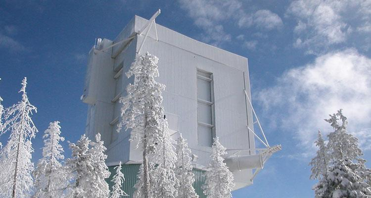 The Univeristy of Arizona's Large Binocular telescope snow on Mt Graham International Observatory