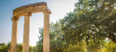 The location changes. The ancient Olympics happened in the same place every four years: Olympia, a city in the southwest of Greece. Olympia was a religious site, and it had a sanctuary dedicated to Zeus, the Greek king of all gods, featuring a massive gol