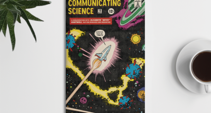 illustration in the style of vintage comic book covers with a nod to space exploration